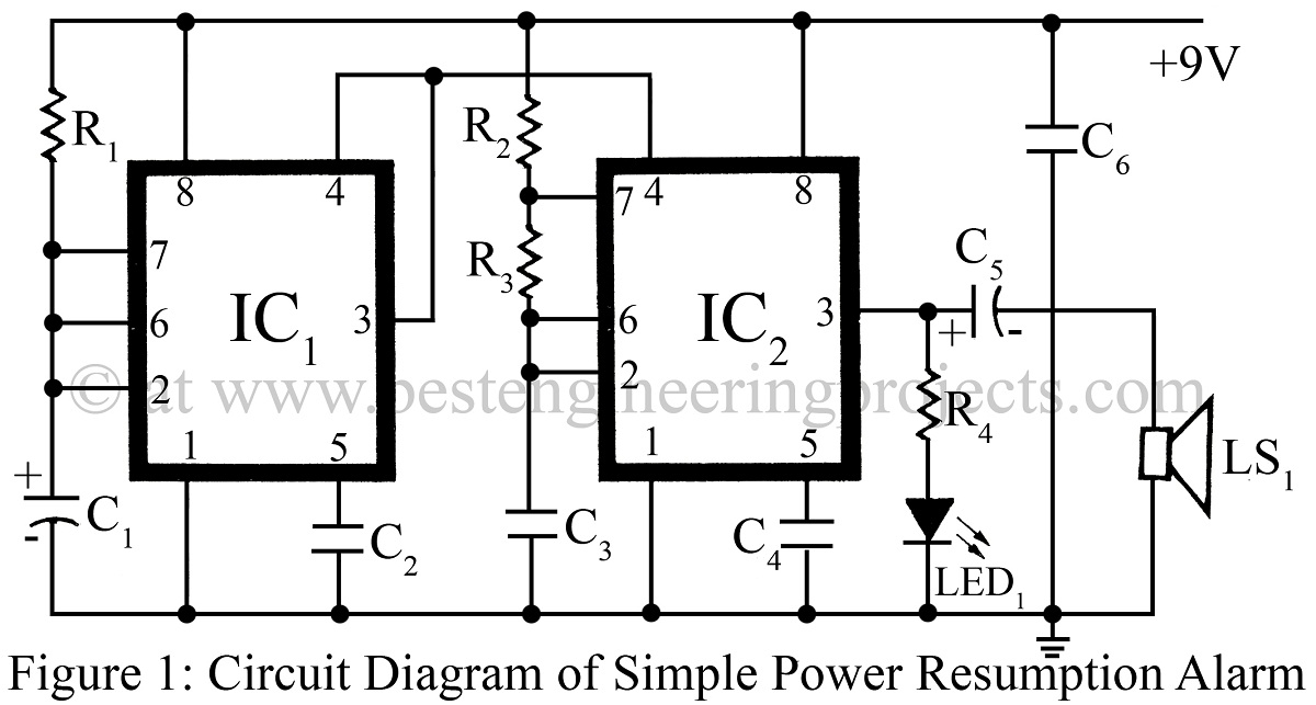 Simple Power Supply Resumption Alarm using timer IC NE555
