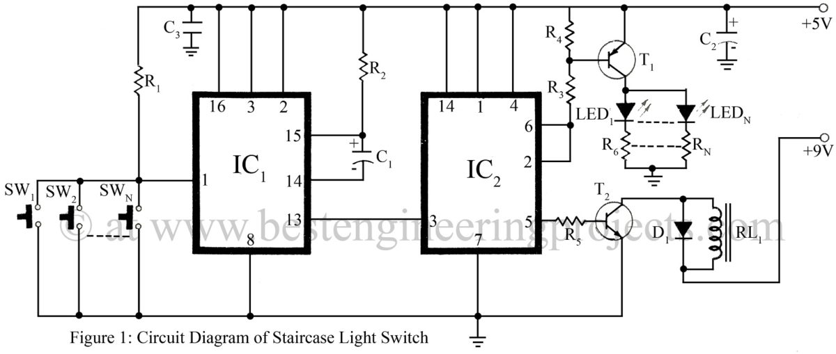 circuit diagram of staircase light switch light switch circuit verified electronics projects