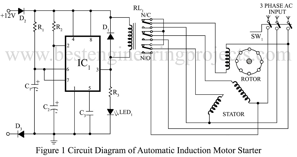 ac motor starter wiring diagram 2001 mazda tribute radio 3 phase induction engineering projects circuit of automatic stater