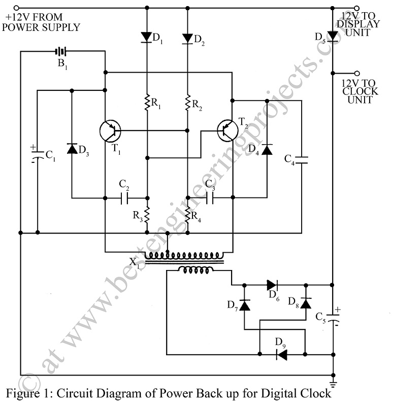 circuit diagram of power back up for digital clock