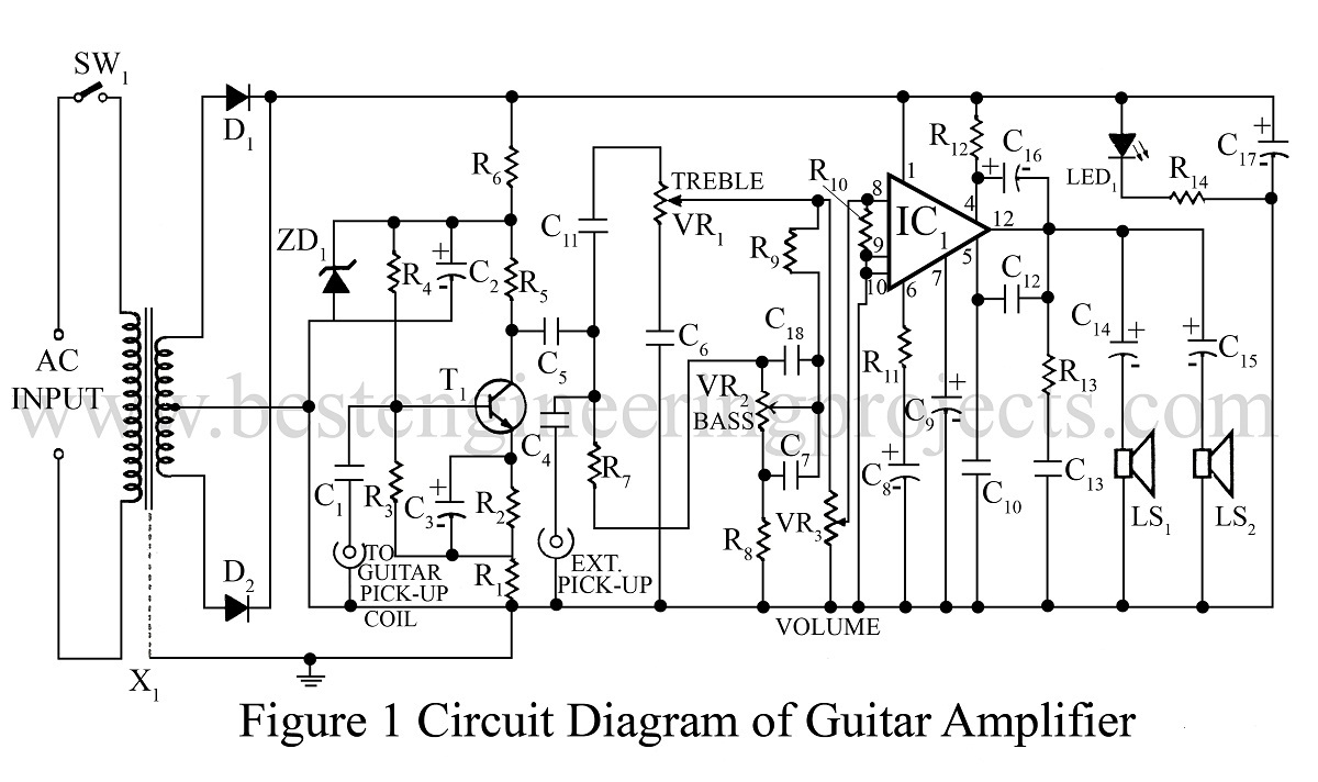 Amplifier Circuit Diagram | Power amplifier | Voltage