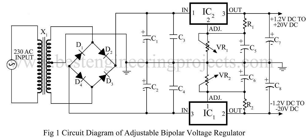 a simple voltage regulator 22v 22v by tip3055tip2955