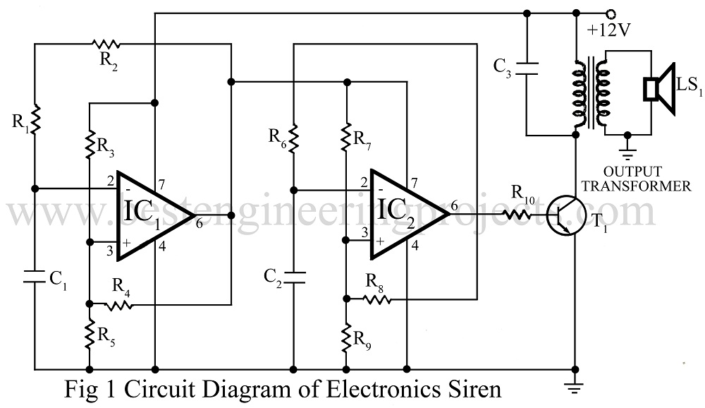 electronic siren using op amp 741 ic rh bestengineeringprojects com Basic Alarm Circuits Diagram Electrical Circuit Diagrams