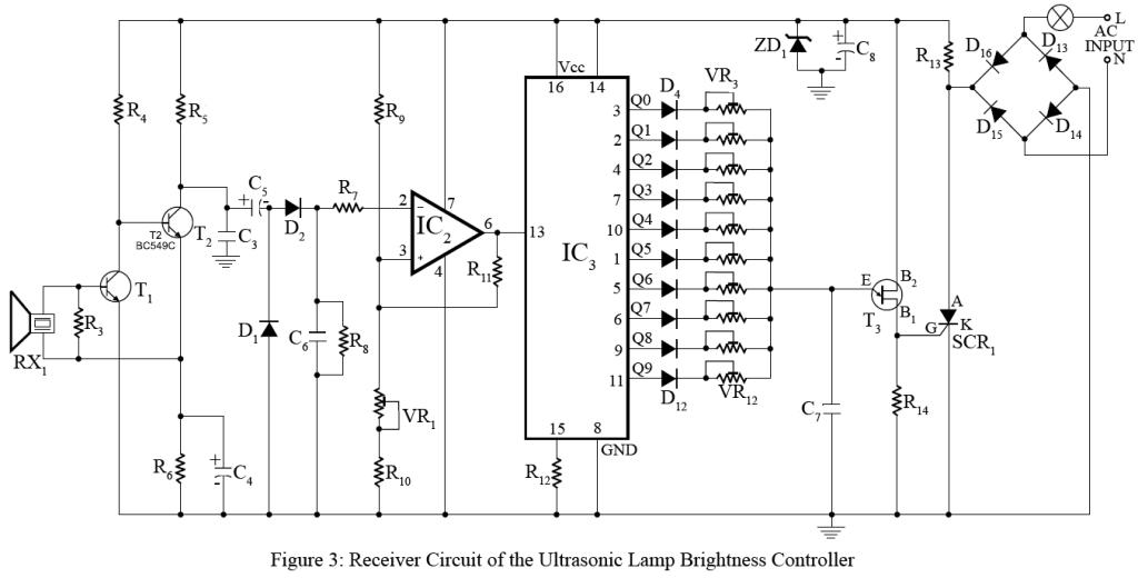 receiver circuit of ultrasonic lamp brightness controller