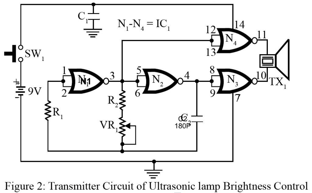 transmitter circuit of ultrasonic lamp brightness control