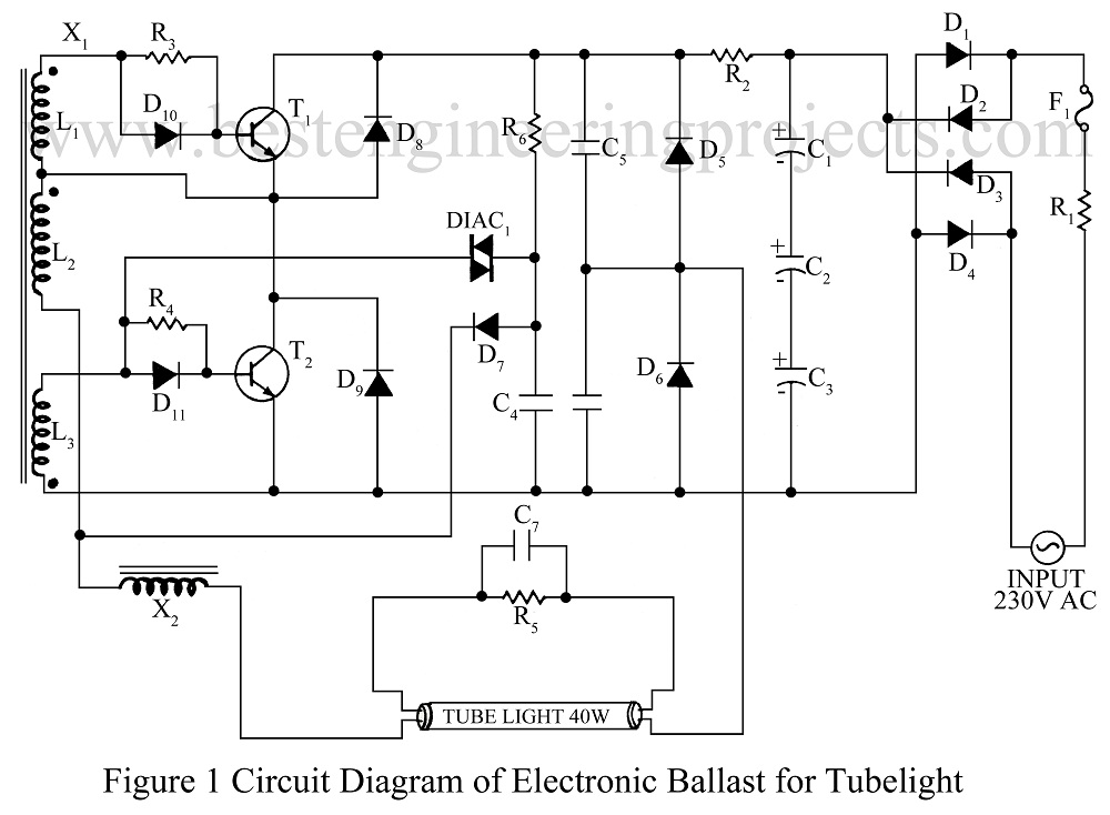Wiring Diagram Of A Fluorescent Light Ballast : Electronic ballast for tube lights