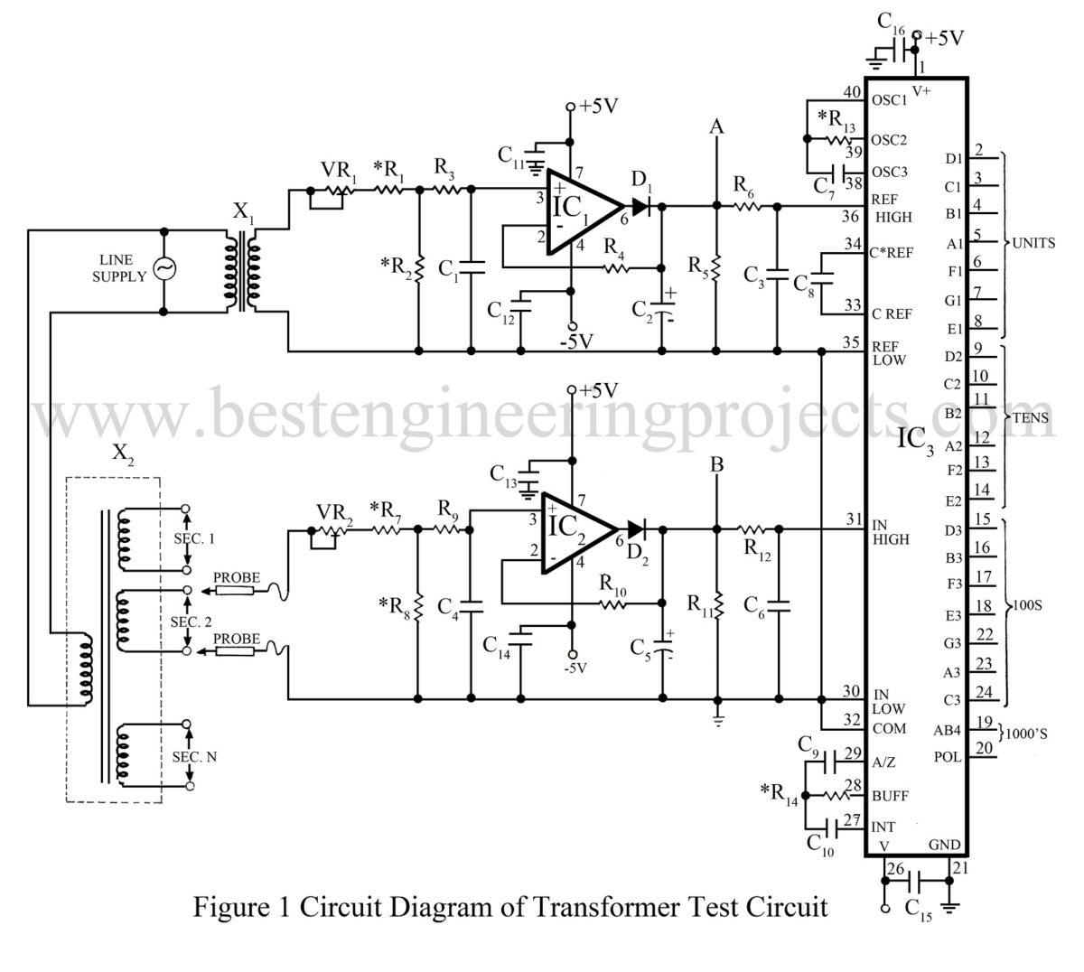 circuit diagram of water level indicator using 8051