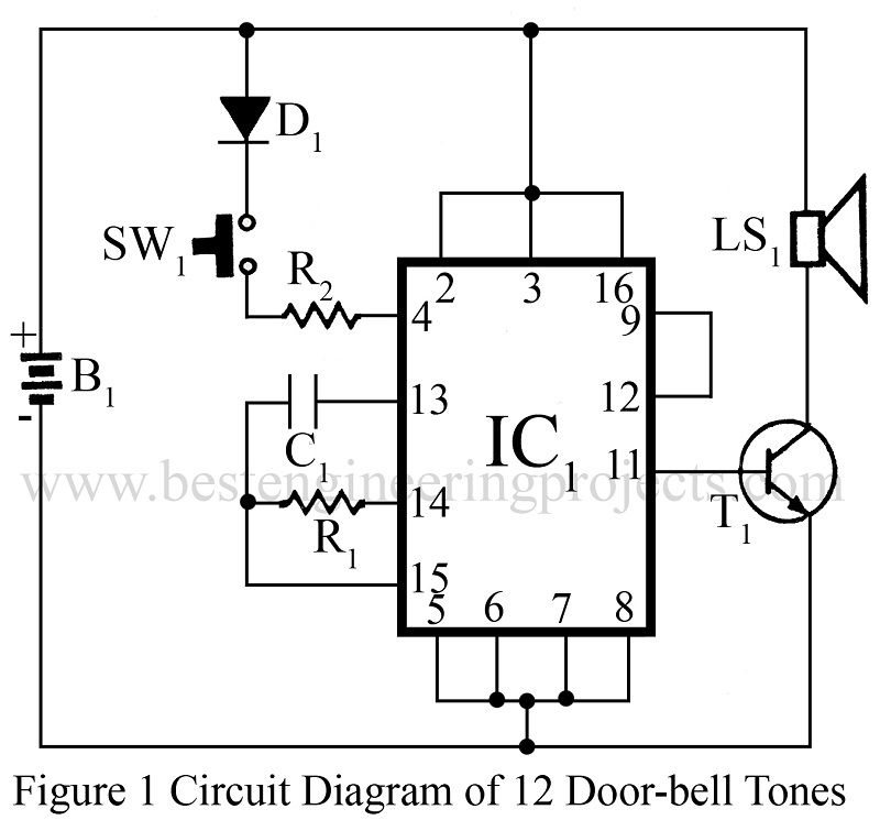 circuit diagram of 12 doorbell tones 12 tones door bell doorbell projects best engineering projects What Size Wire for Doorbell at gsmx.co