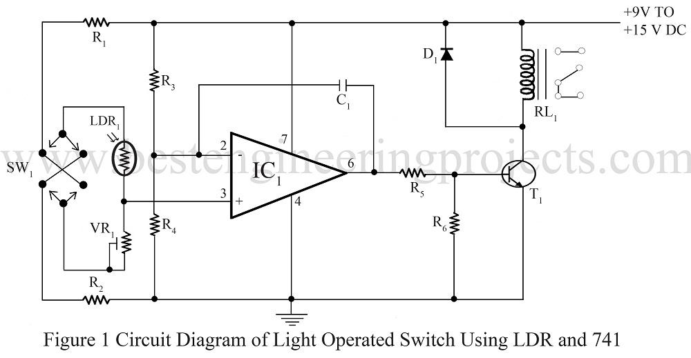 circuit diagram of light sensor using ldr