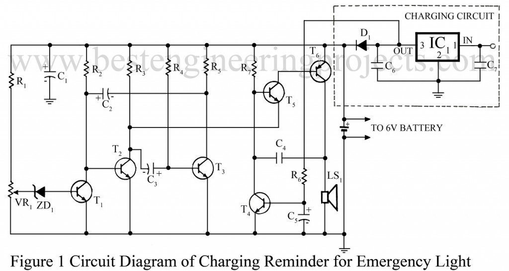 circuit diagram of charging reminder for emmergency light