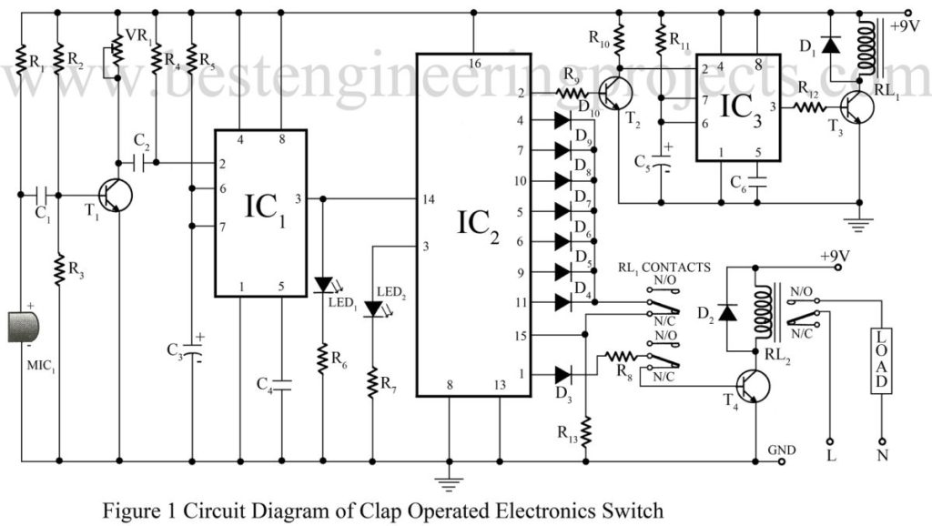 clap switch circuit using 555 best engineering projects