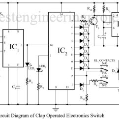 Electronics Mini Projects With Circuit Diagram Legrand Rj11 Socket Wiring Clap Switch Using 555 Best Engineering