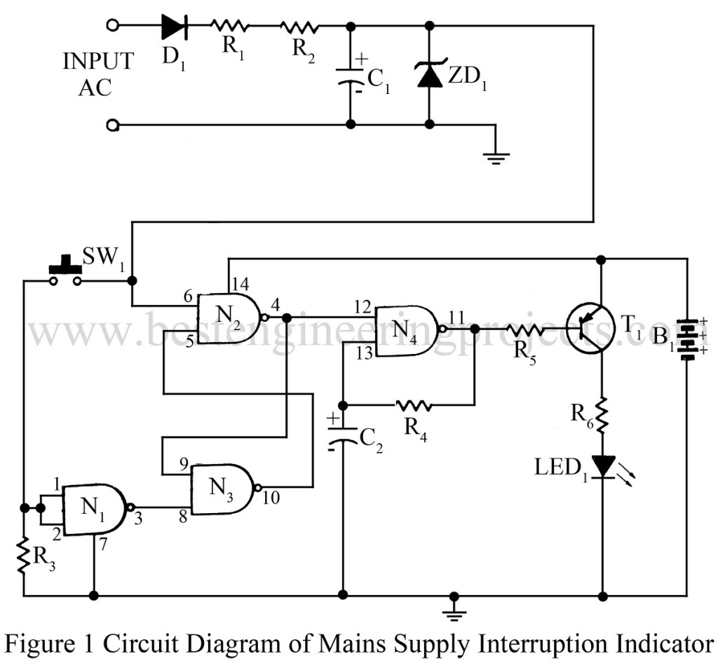 circuit diagram of mains supply interruption indicator