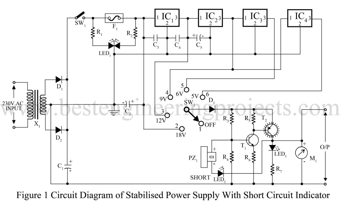 hight resolution of stabilized power supply with short circuit indication