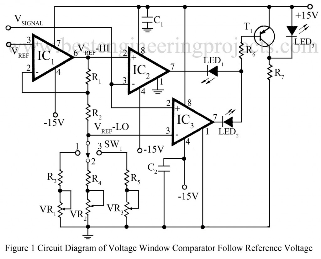 circuit diagram of non inverting amplifier wiring for telephone junction box voltage window comparator follows reference