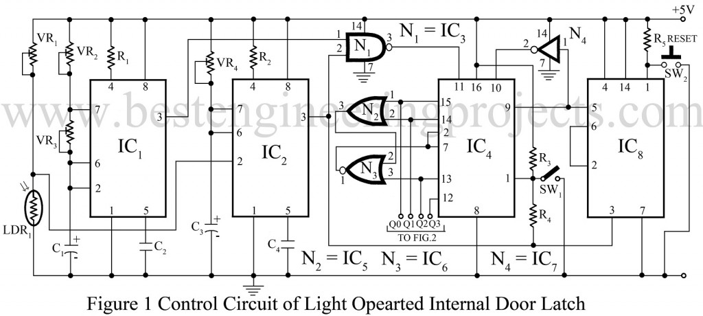 control circuit of light operated internal door latch