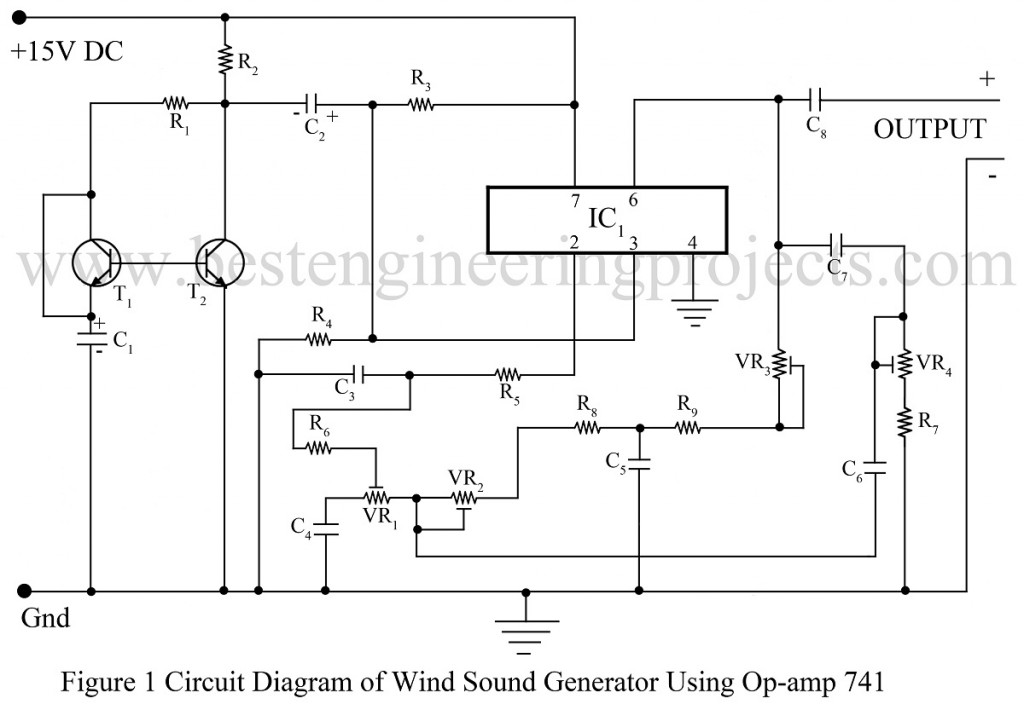 circuit diagram of wind sound generator using op-amp 741