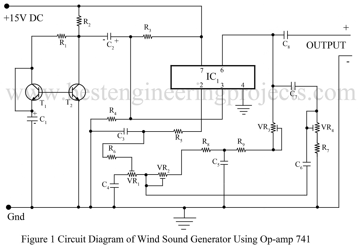 hight resolution of wind sound generator circuit using 741 ic