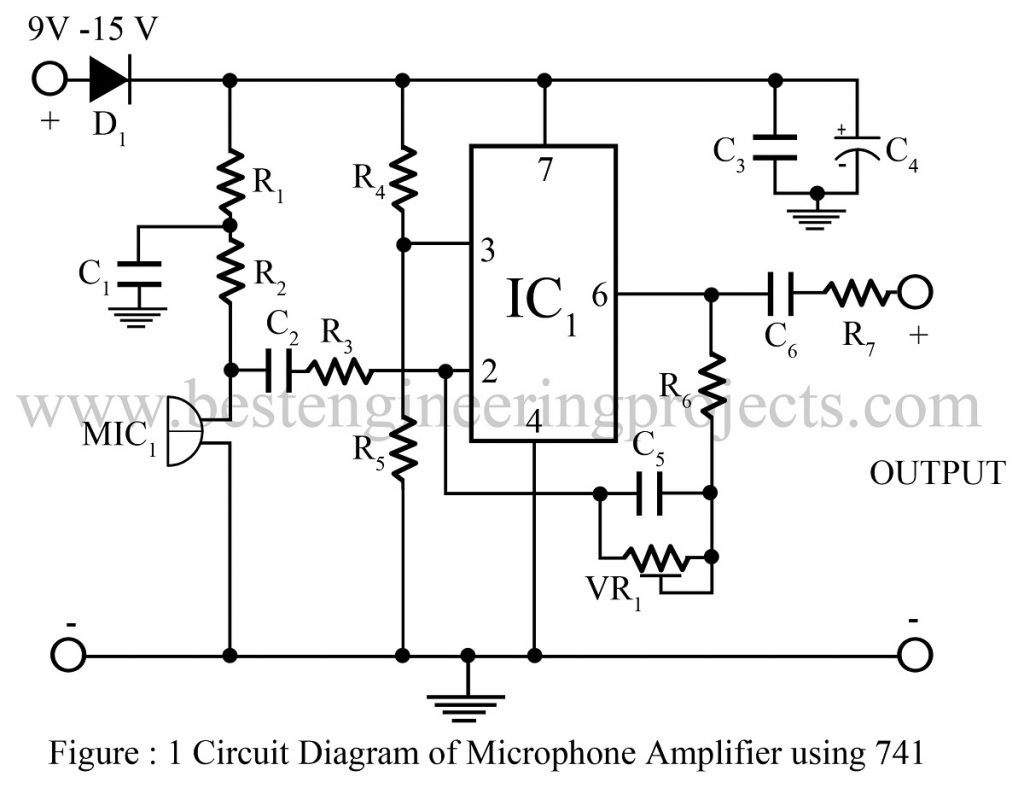 Microphone Amplifier Using Op Amp 741