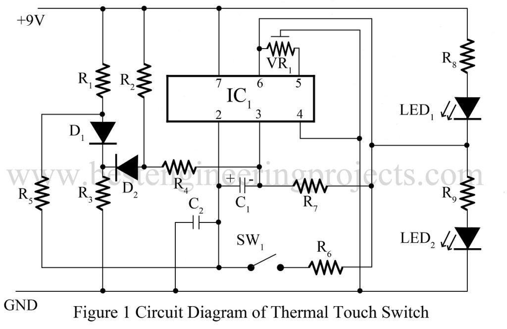 circuit diagram of thermal touch switch using op amp 741