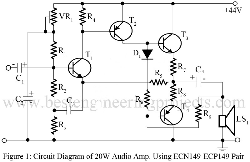 20W Audio Amplifier Using ECN149-ECP149 Pair Transistor