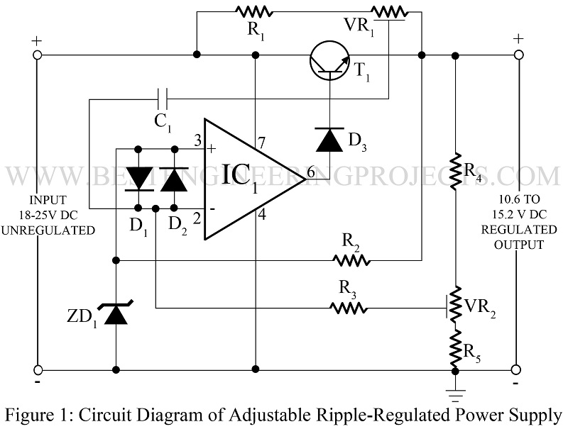 Adjustable ripple regulated power supply using 741 ccuart Image collections