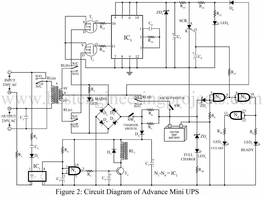 circuit diagram of advance mini ups