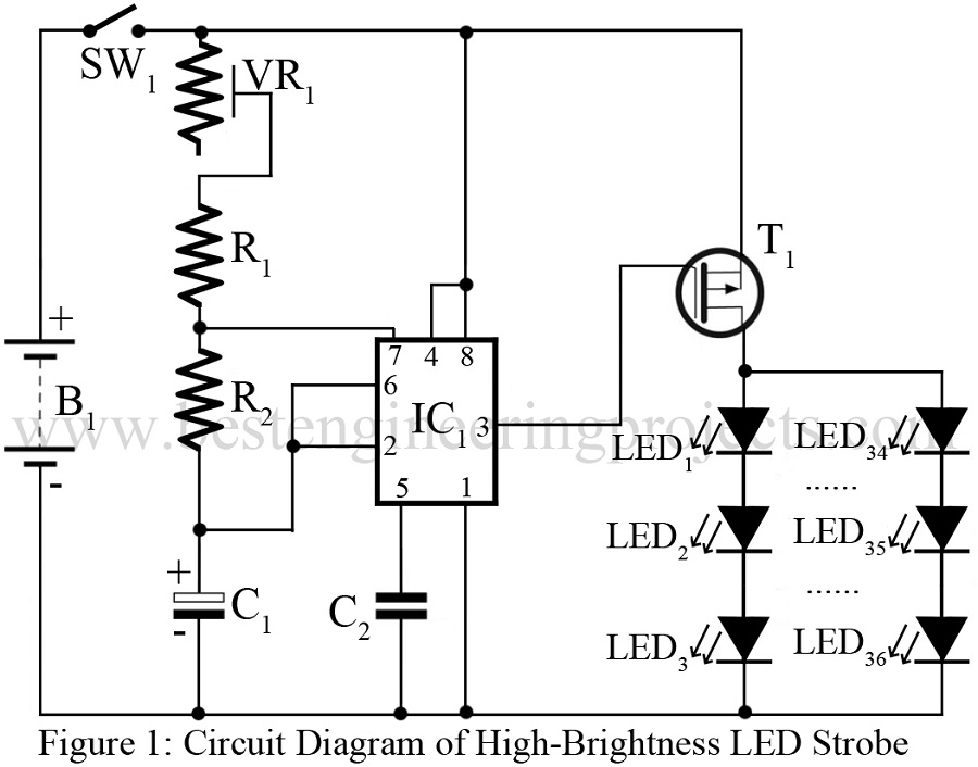 High-Brightness LED Strobe Using IC 555