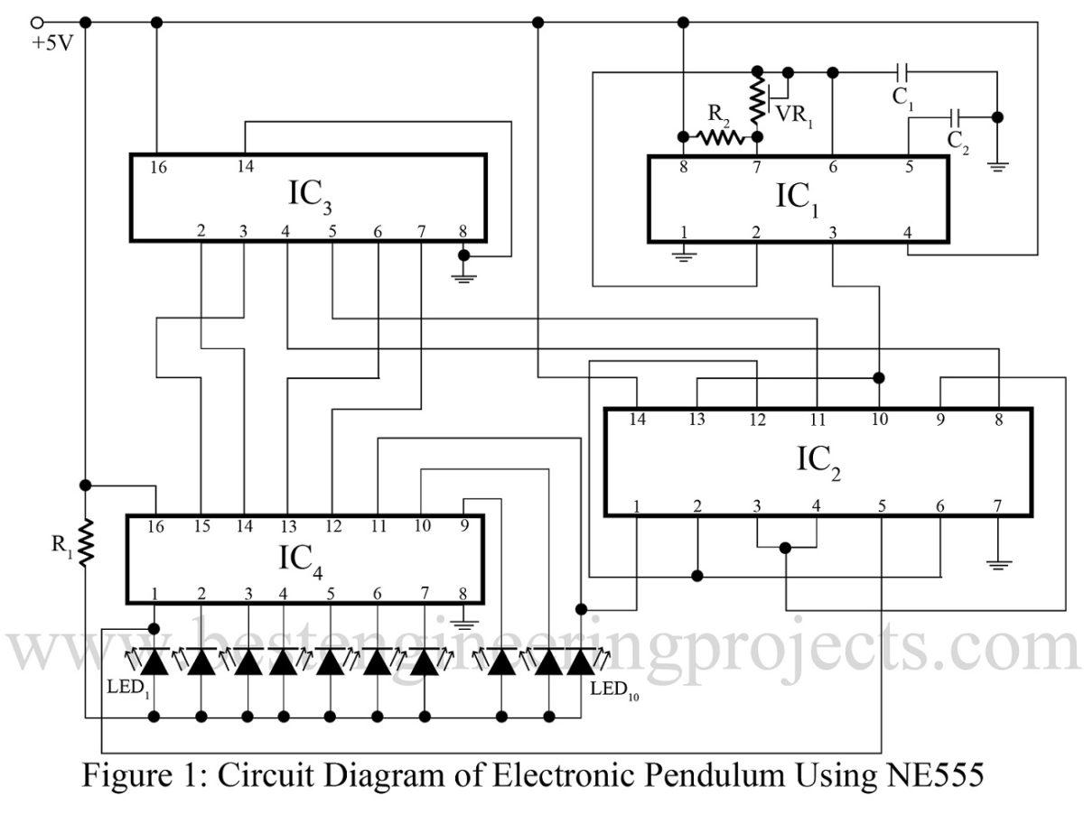 digital clock circuit using 555 timer diagram badland winch 3000 wiring electronic pendulum ne555