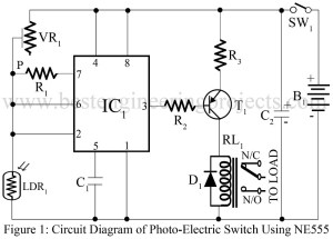 circuit diagram of photoelectric switch using 555