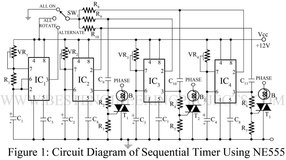 Sequential Timer Circuit Using Ne555