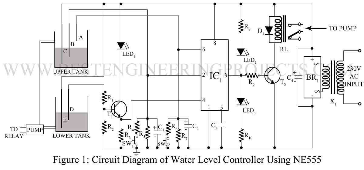 Water level controller using ne555gfit1200561ssl1 ccuart Gallery