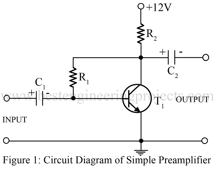 Simple preamplifier circuit using single transistor for Simple single