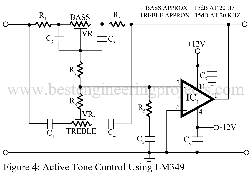 active tone control using LM349