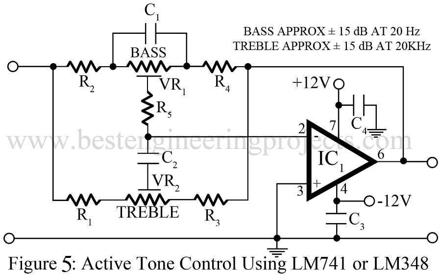 active tone control using LM741 or LM348