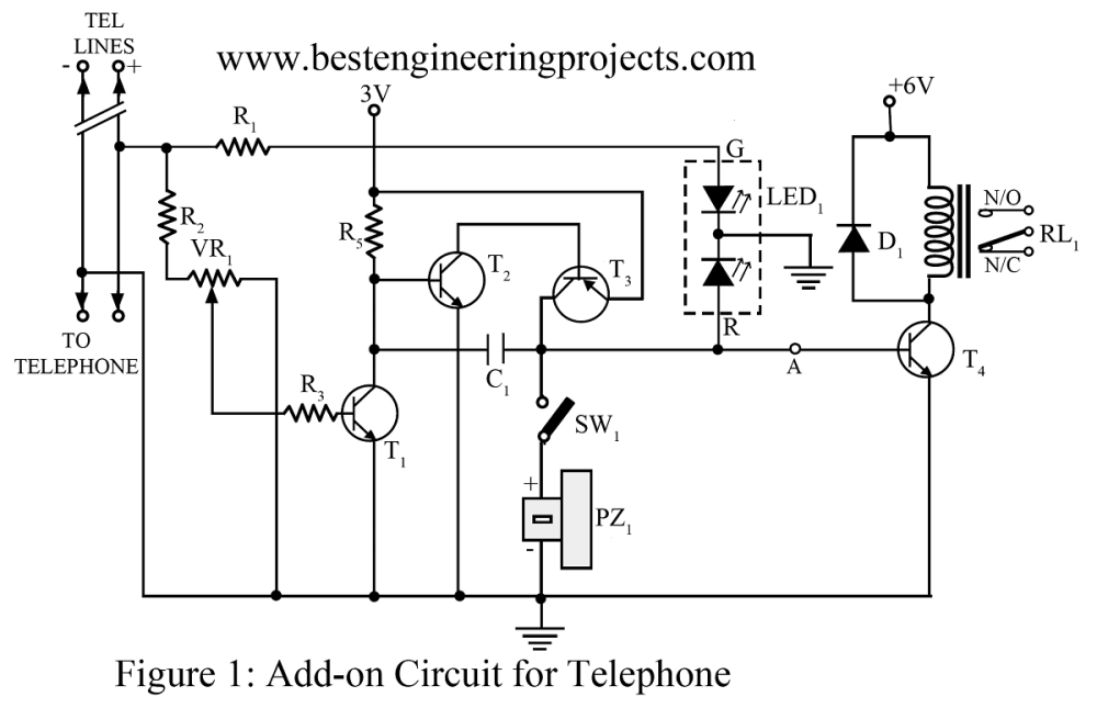 medium resolution of basic electronic circuit 1 add on device for telephone
