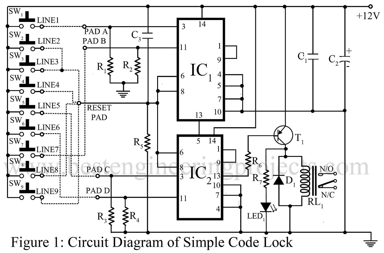 electronic door lock wiring diagram led rocker switch code circuit get free