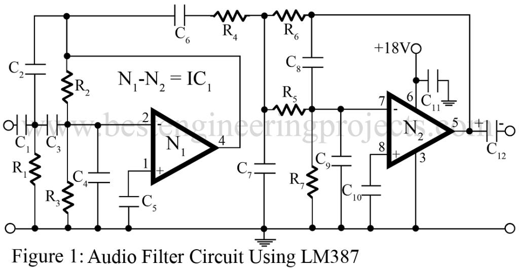 audio filter circuit using lm387