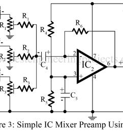 audio mixer circuit engineering projects audio mixer circuit diagram project using operational amplifier [ 1000 x 790 Pixel ]
