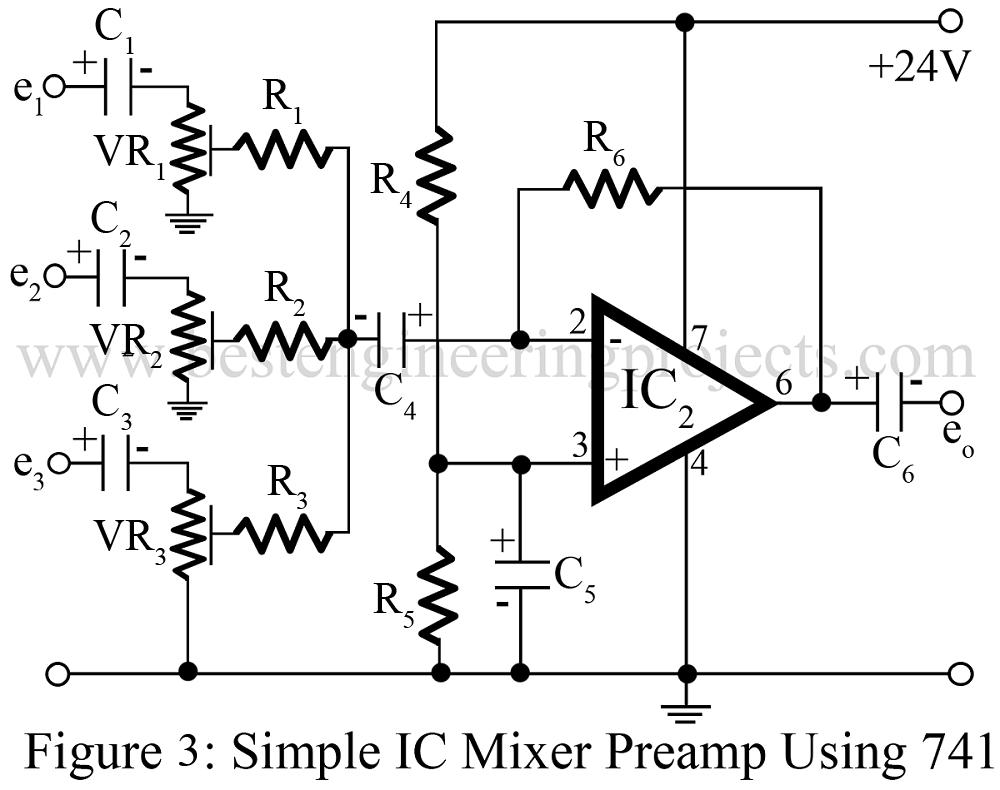medium resolution of audio mixer circuit engineering projects audio mixer circuit diagram project using operational amplifier