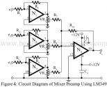 audio mixture circuit using lm349