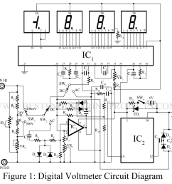 digital voltmeter dvm circuit using icl 7107 best engineering projects [ 1200 x 1148 Pixel ]
