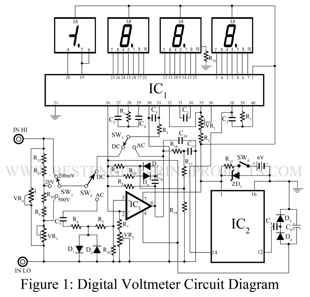 hight resolution of digital voltmeter dvm circuit using icl 7107 best engineering projects