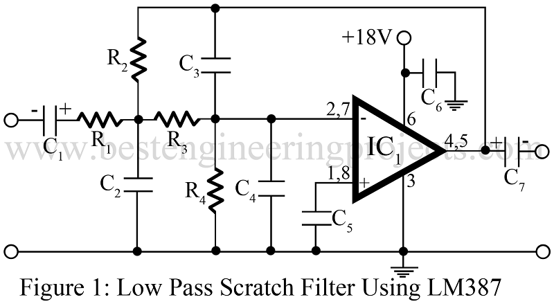 low pass filter circuit using LM387