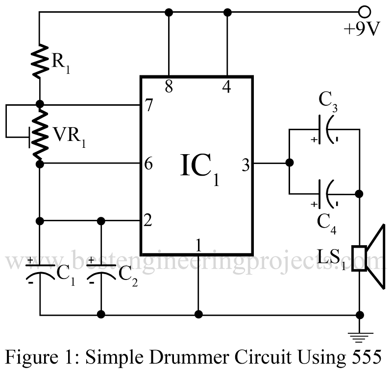 Simple Drummer Project Using Timer 555 Best Engineering