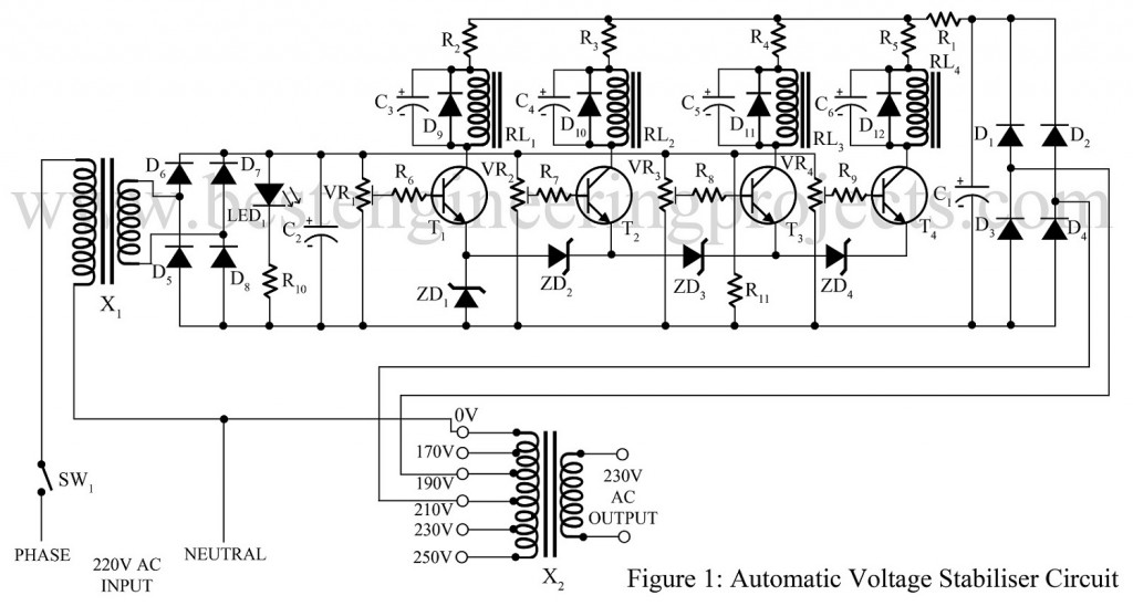 automatic voltage stabilizer circuit best engineering projects rh bestengineeringprojects com stabilizer circuit diagram for refrigerator 220v stabilizer circuit diagram