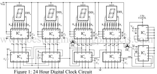 small resolution of 7 segment logic diagram wiring library house wiring diagrams 24 hour digital clock and timer circuit