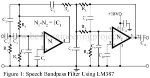 circuit diagram of speech bandpass filter using LM387