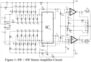 8w+8W stereo amplifier circuit