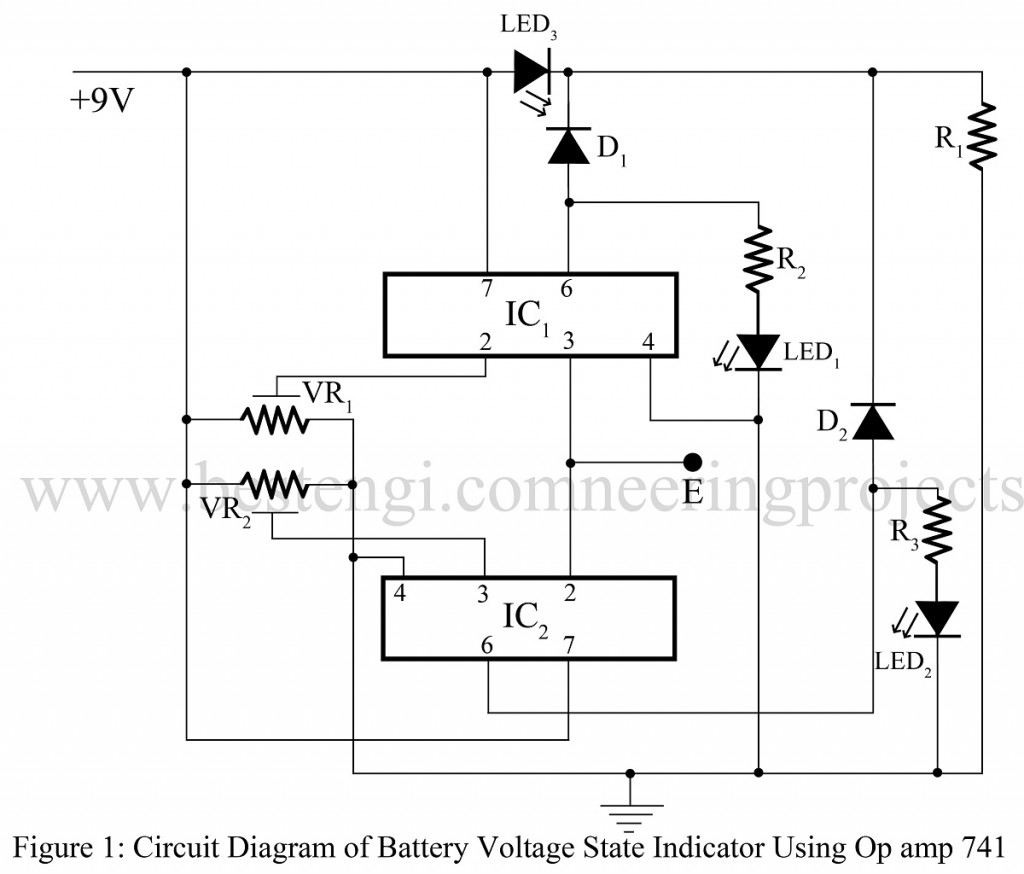 Battery voltage state indicator using 741 best engineering projects circuit diagram of battery voltage state indicator pooptronica